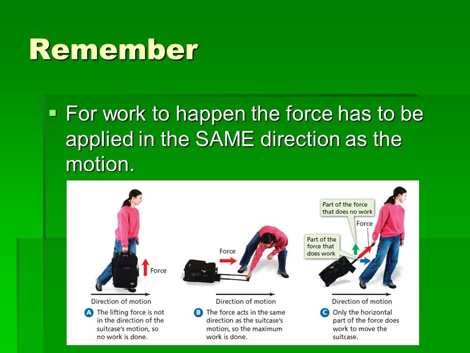 Remember For work to happen the force has to be applied in the SAME direction as the motion.