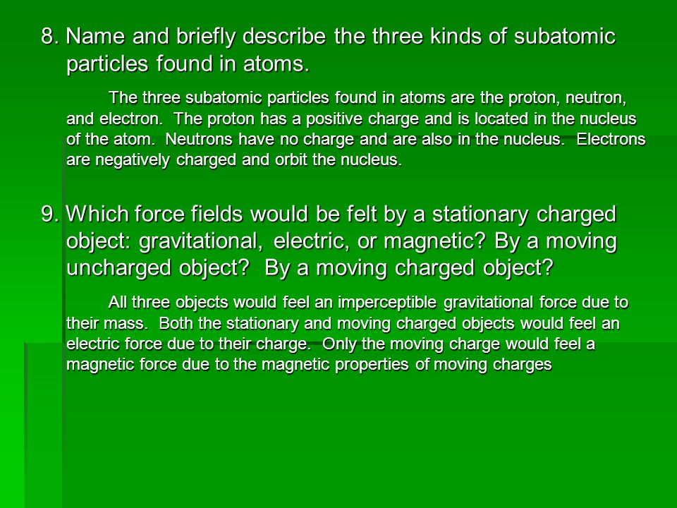 8. Name and briefly describe the three kinds of subatomic particles found in atoms.