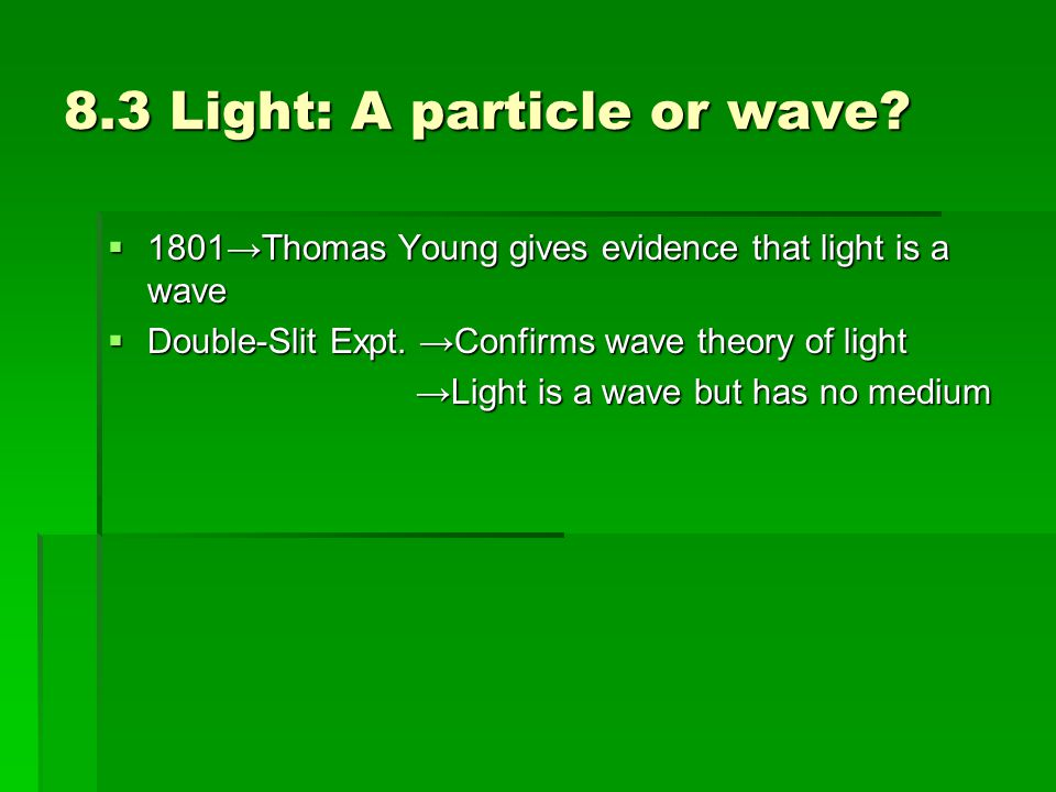 8.3 Light: A particle or wave