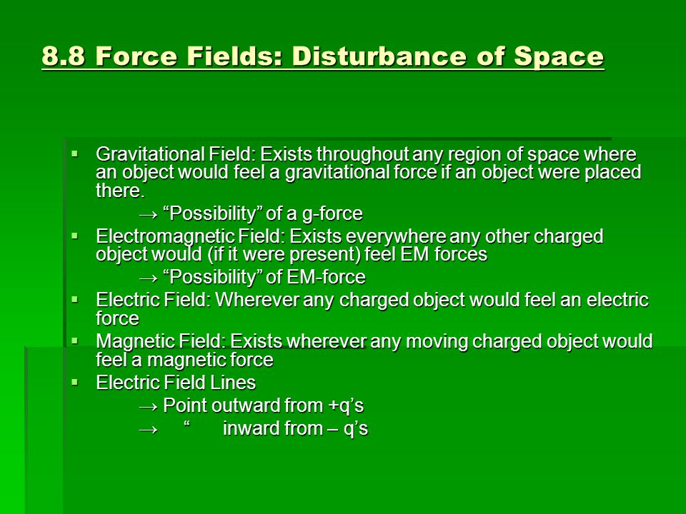 8.8 Force Fields: Disturbance of Space
