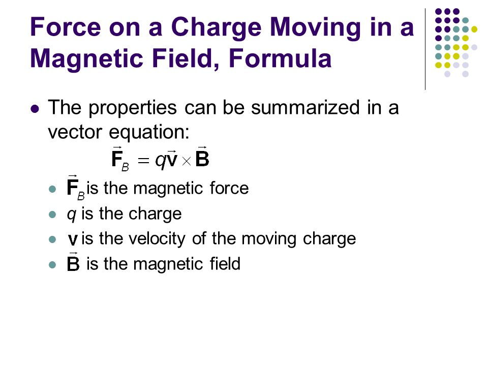 Force on a Charge Moving in a Magnetic Field, Formula