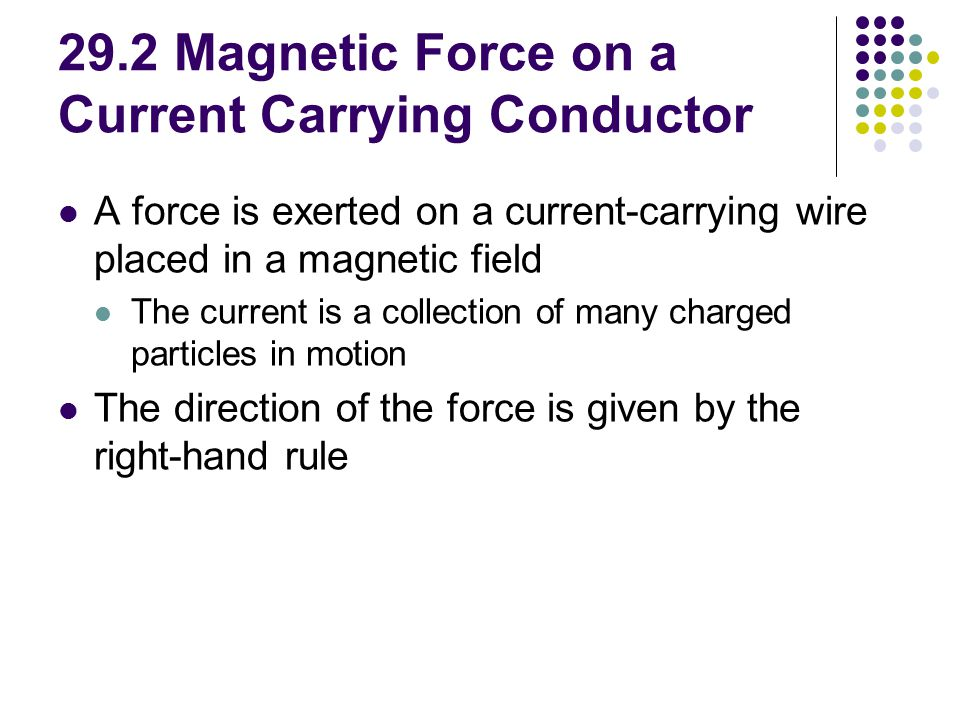 29.2 Magnetic Force on a Current Carrying Conductor