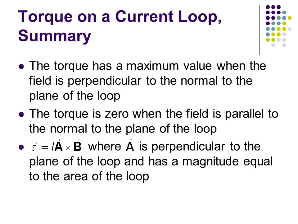 Torque on a Current Loop, Summary