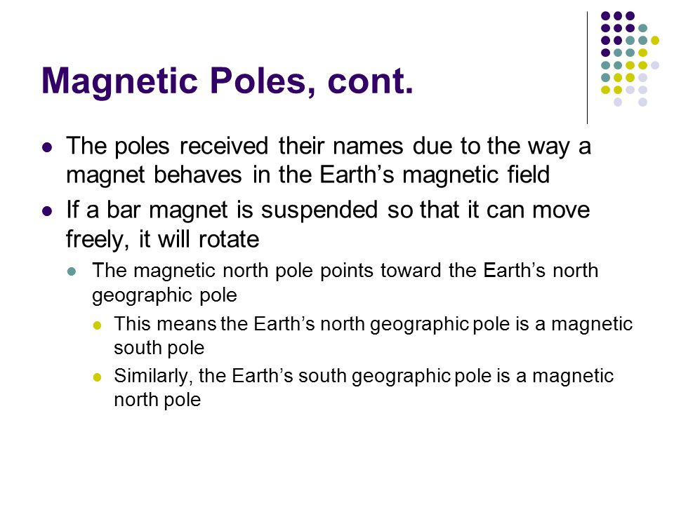 Magnetic Poles, cont. The poles received their names due to the way a magnet behaves in the Earth's magnetic field.