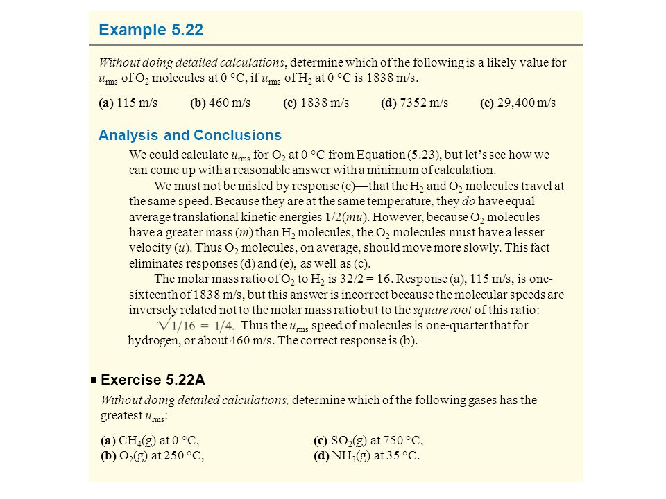 Example 5.22 Analysis and Conclusions Exercise 5.22A