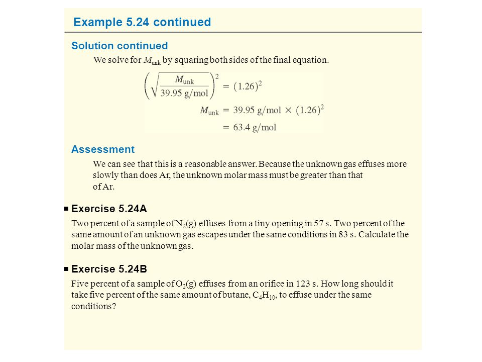 Example 5.24 continued Solution continued Assessment Exercise 5.24A