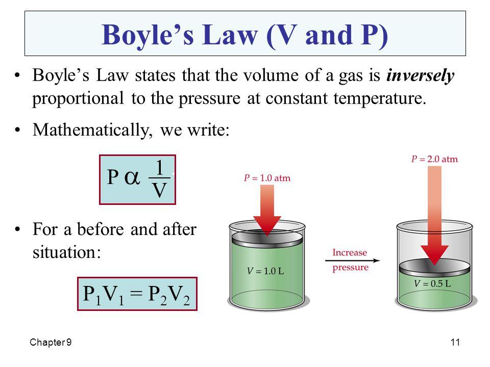 Boyle's Law (V and P) 1 . P  V P1V1 = P2V2