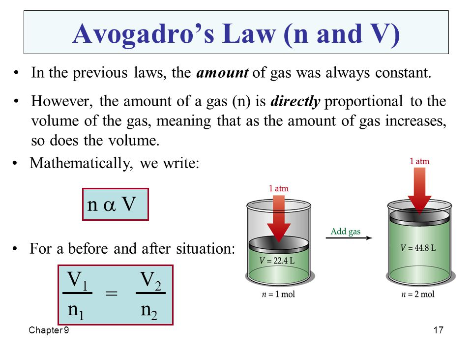 Avogadro's Law (n and V)