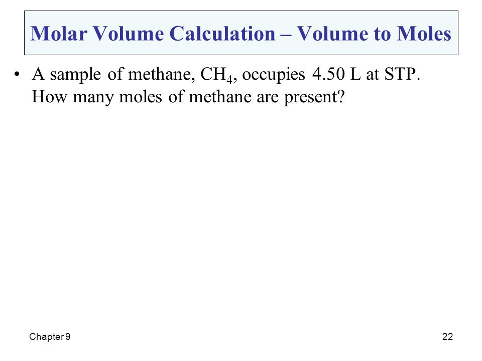 Molar Volume Calculation – Volume to Moles