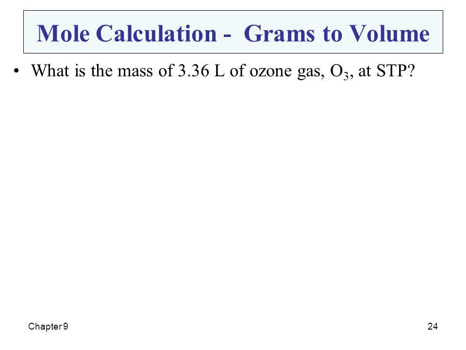 Mole Calculation - Grams to Volume