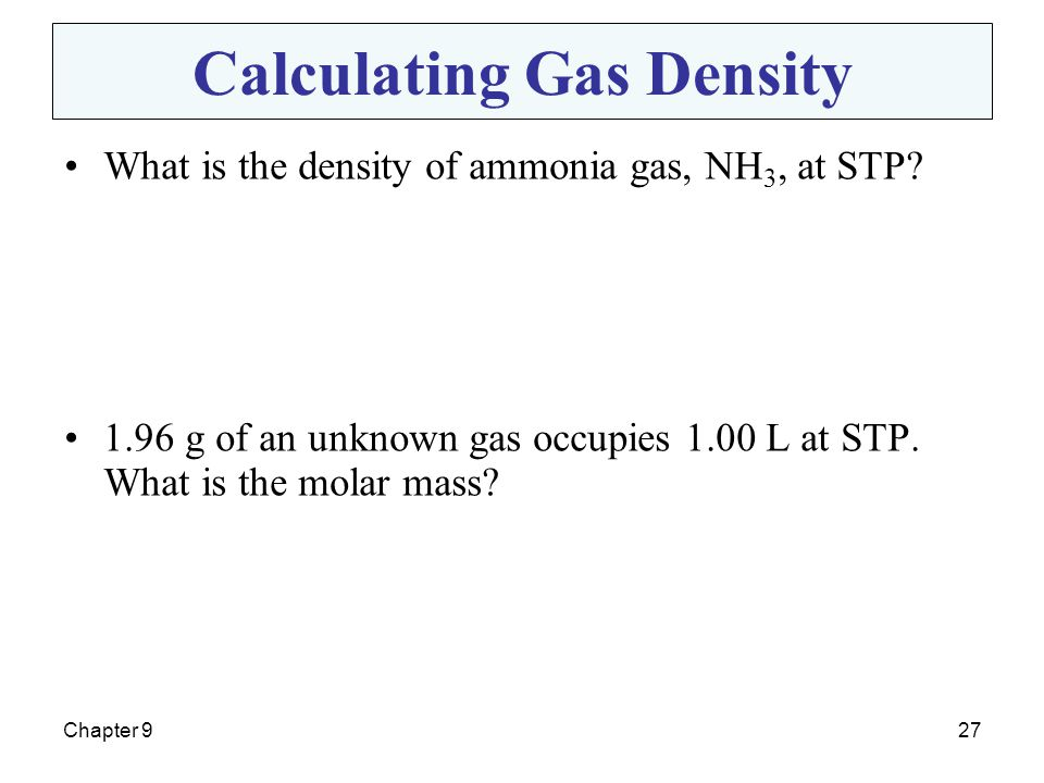 Calculating Gas Density