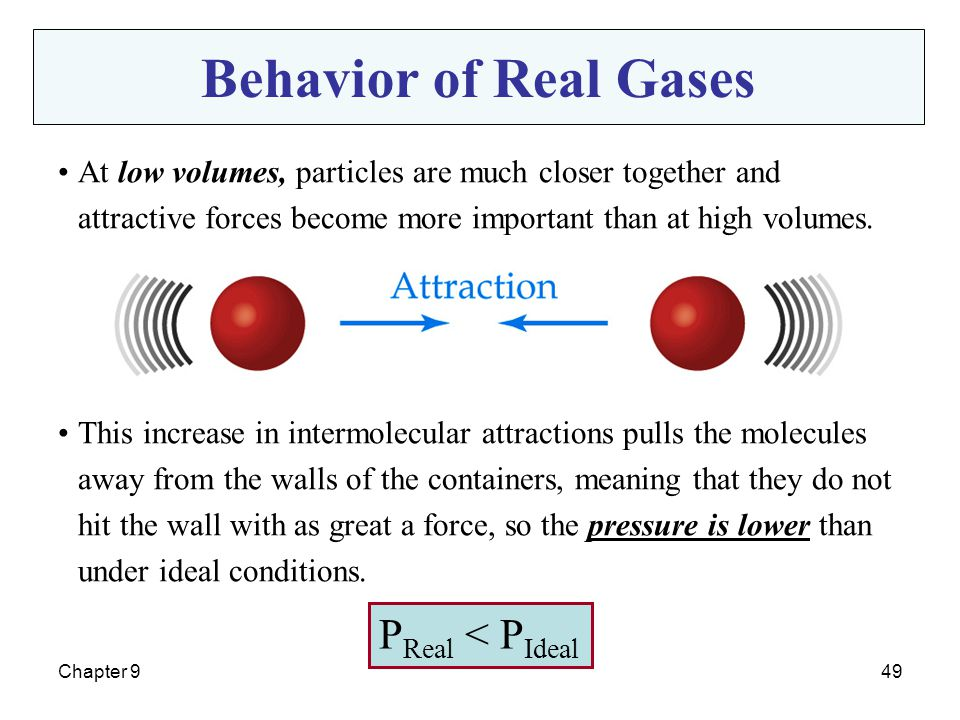 Behavior of Real Gases PReal < PIdeal