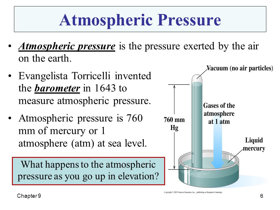 What happens to the atmospheric pressure as you go up in elevation