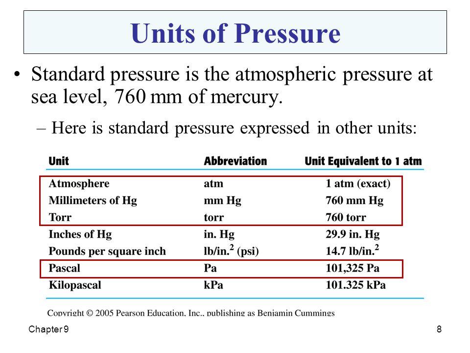 Units of Pressure Standard pressure is the atmospheric pressure at sea level, 760 mm of mercury. Here is standard pressure expressed in other units: