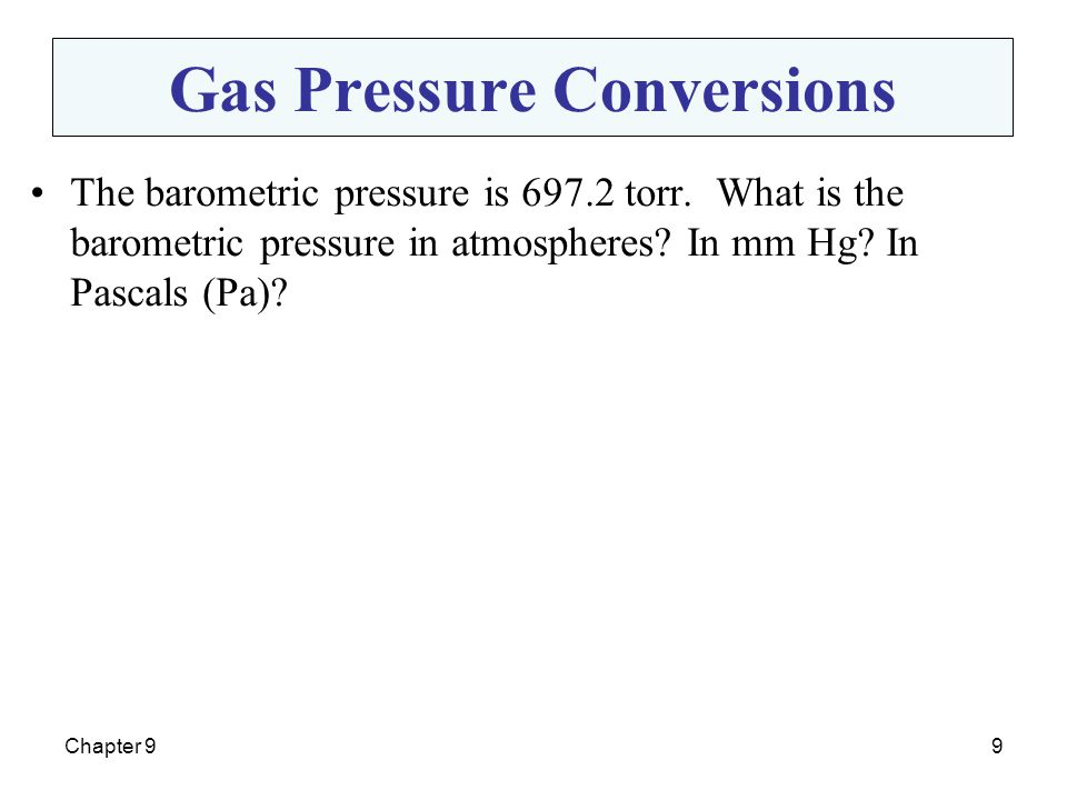 Gas Pressure Conversions