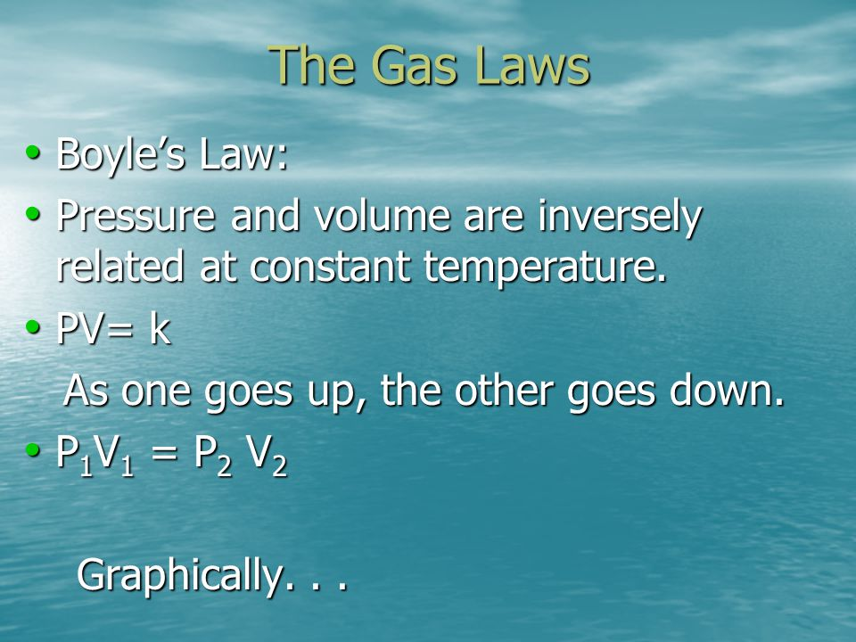 The Gas Laws Boyle's Law: