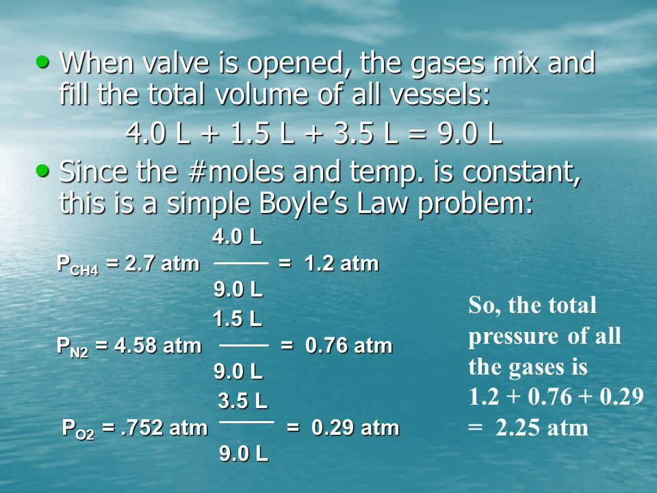When valve is opened, the gases mix and fill the total volume of all vessels: