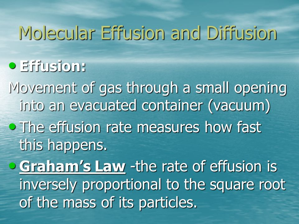 Molecular Effusion and Diffusion