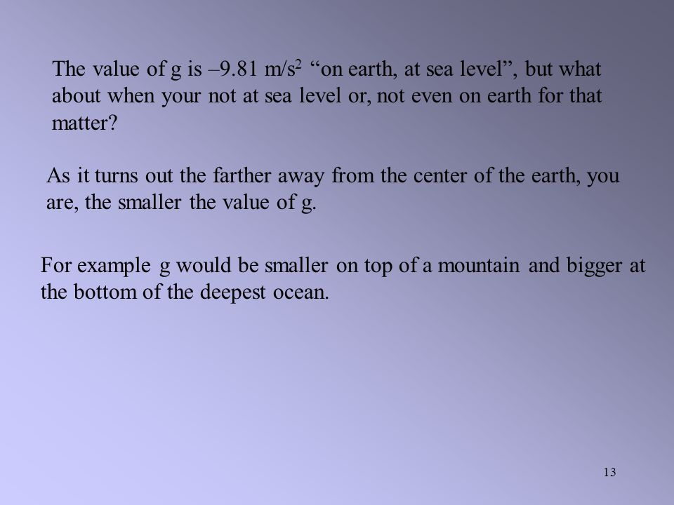 The value of g is –9.81 m/s2 on earth, at sea level , but what about when your not at sea level or, not even on earth for that matter