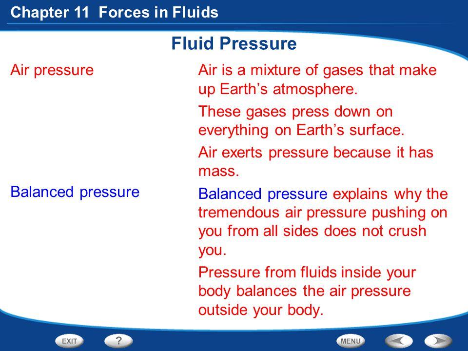 Fluid Pressure Air pressure Balanced pressure