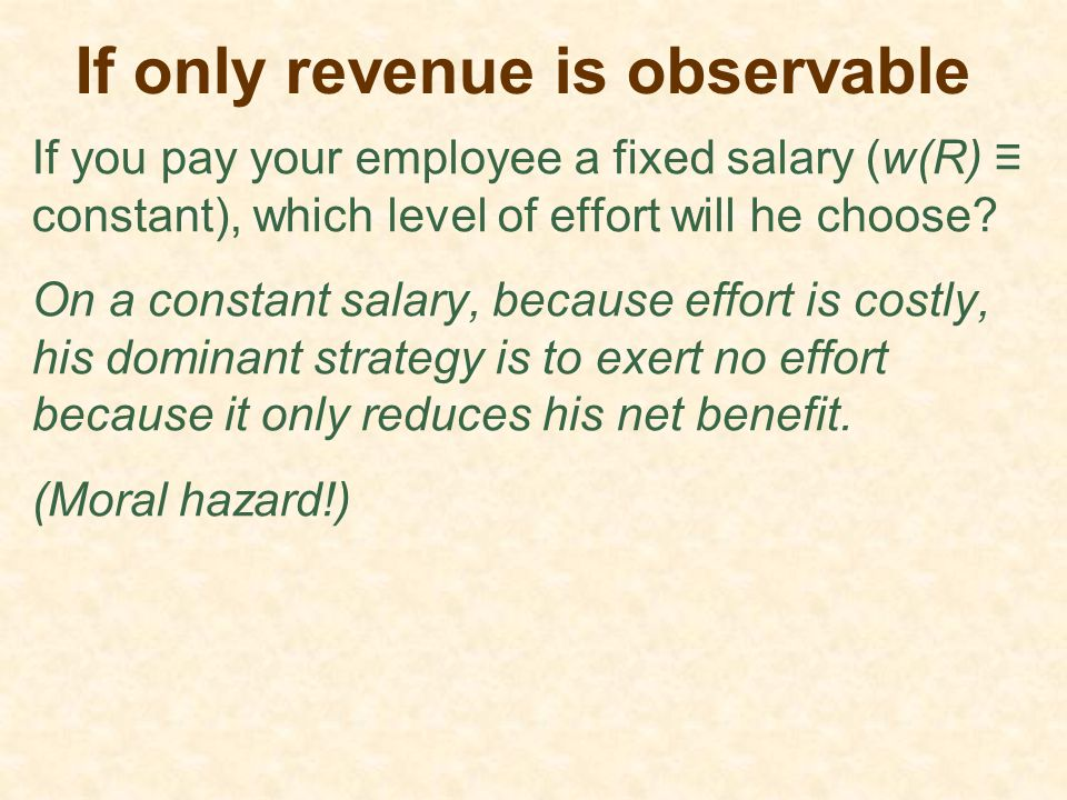 If only revenue is observable