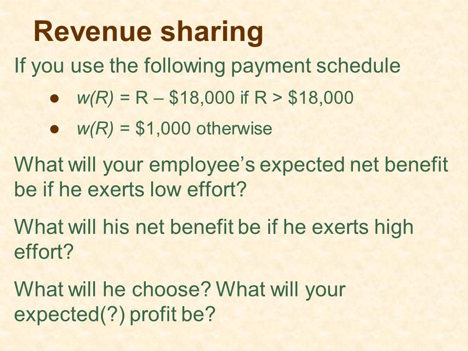 Revenue sharing If you use the following payment schedule