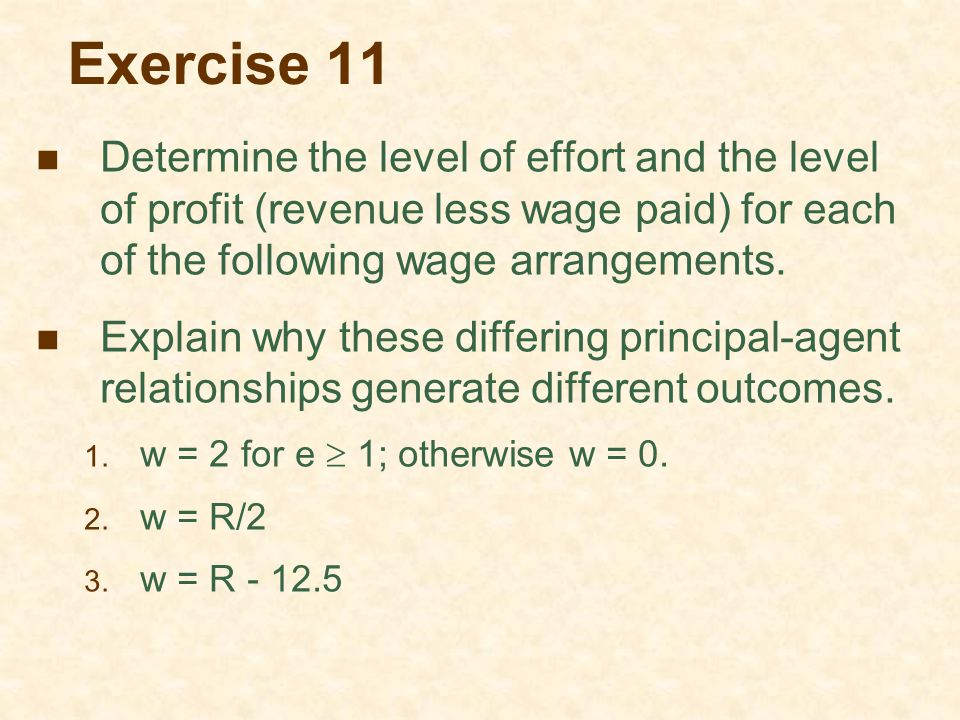 Exercise 11 Determine the level of effort and the level of profit (revenue less wage paid) for each of the following wage arrangements.