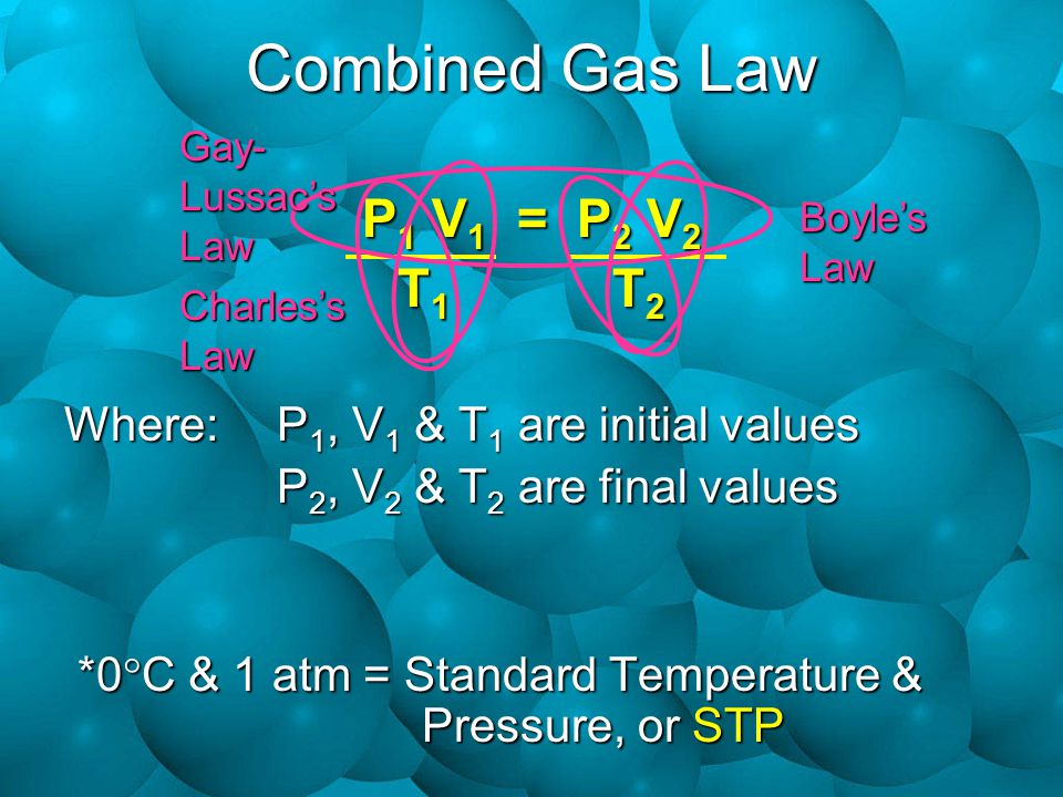 Combined Gas Law P1 V1 = P2 V2 T1 T2