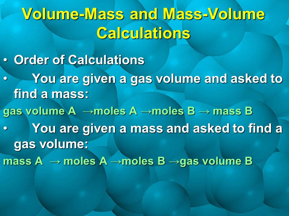 Volume-Mass and Mass-Volume Calculations