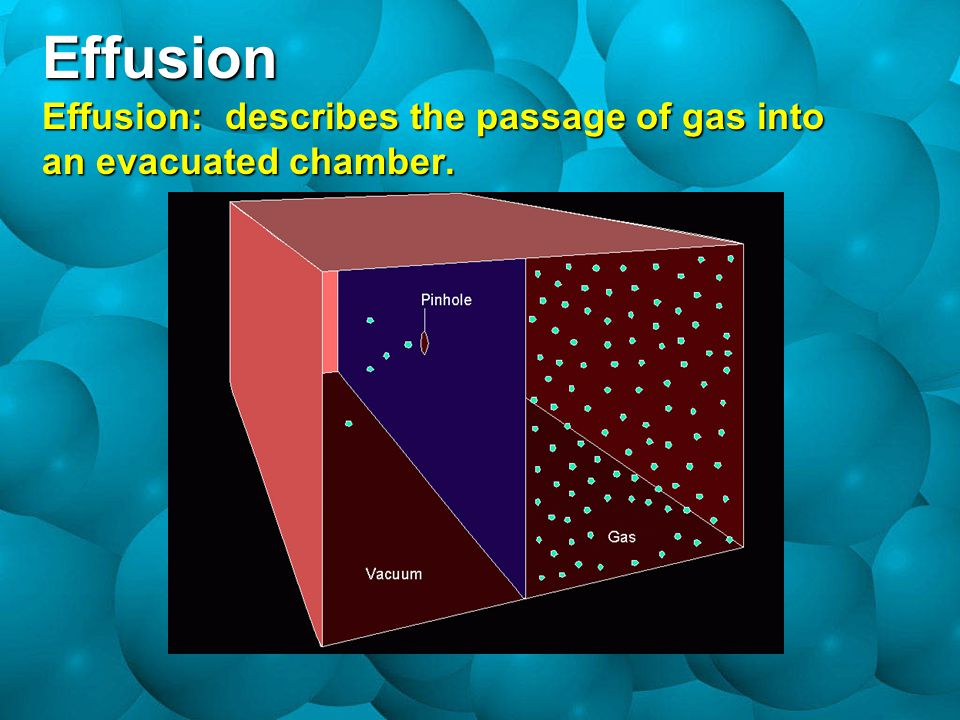 Effusion Effusion: describes the passage of gas into an evacuated chamber.