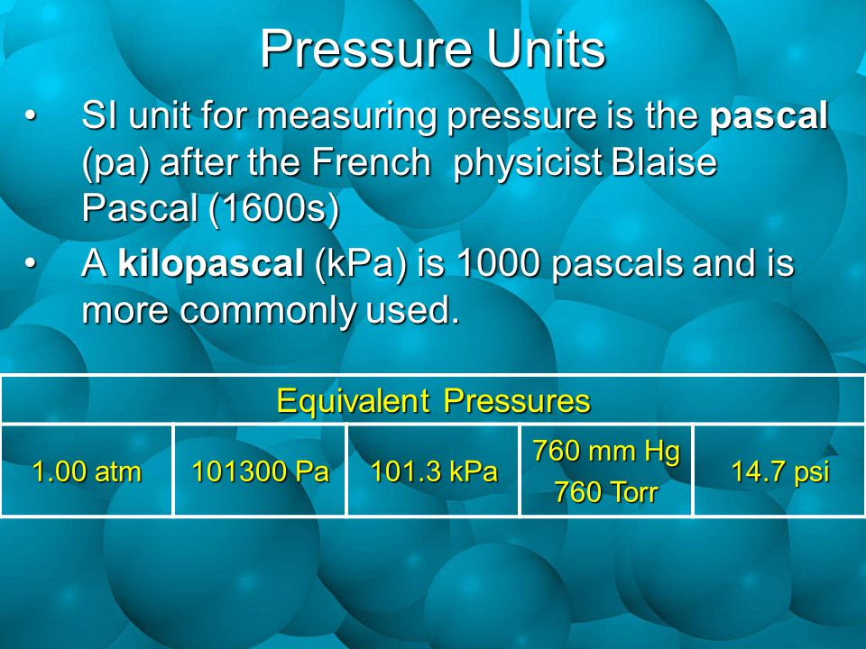 Pressure Units SI unit for measuring pressure is the pascal (pa) after the French physicist Blaise Pascal (1600s)