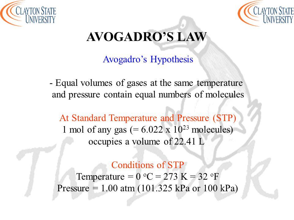AVOGADRO'S LAW Avogadro's Hypothesis