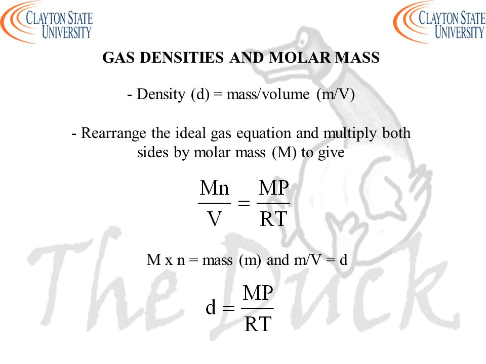 GAS DENSITIES AND MOLAR MASS