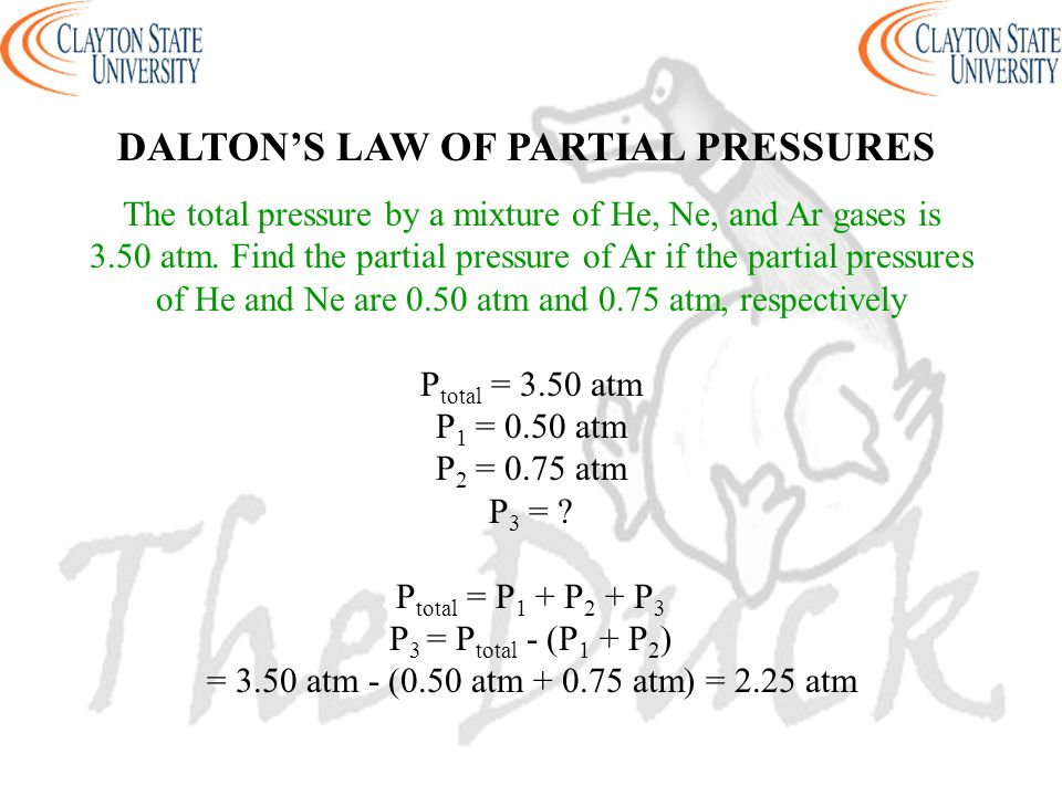 The total pressure by a mixture of He, Ne, and Ar gases is
