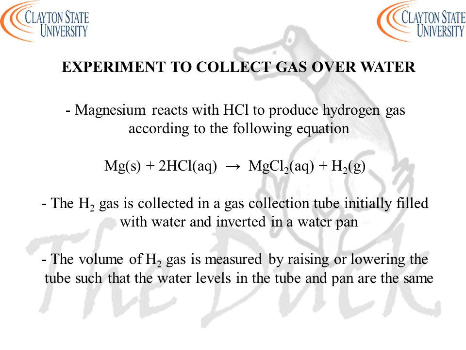 EXPERIMENT TO COLLECT GAS OVER WATER
