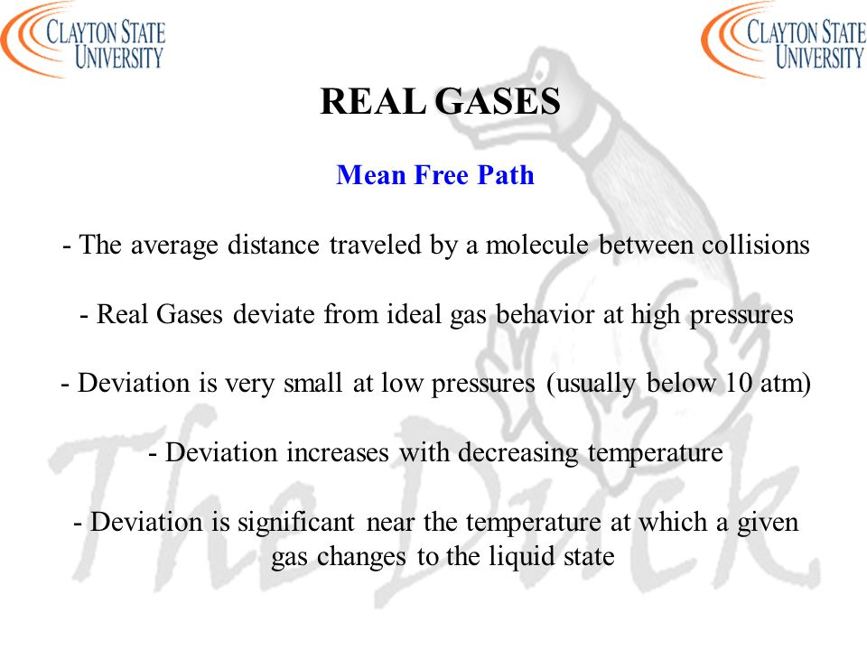 REAL GASES Mean Free Path