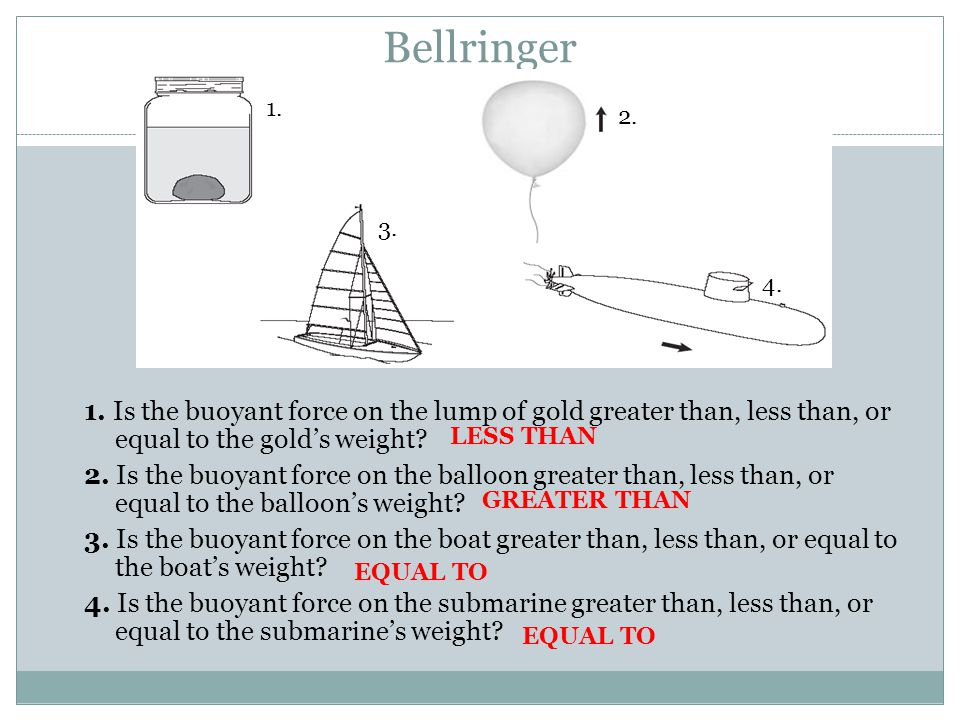 Bellringer 1. 2. 3. 4. 1. Is the buoyant force on the lump of gold greater than, less than, or equal to the gold's weight