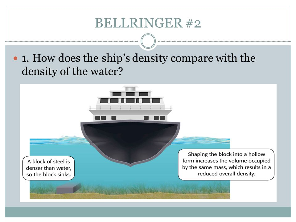 BELLRINGER #2 1. How does the ship's density compare with the density of the water