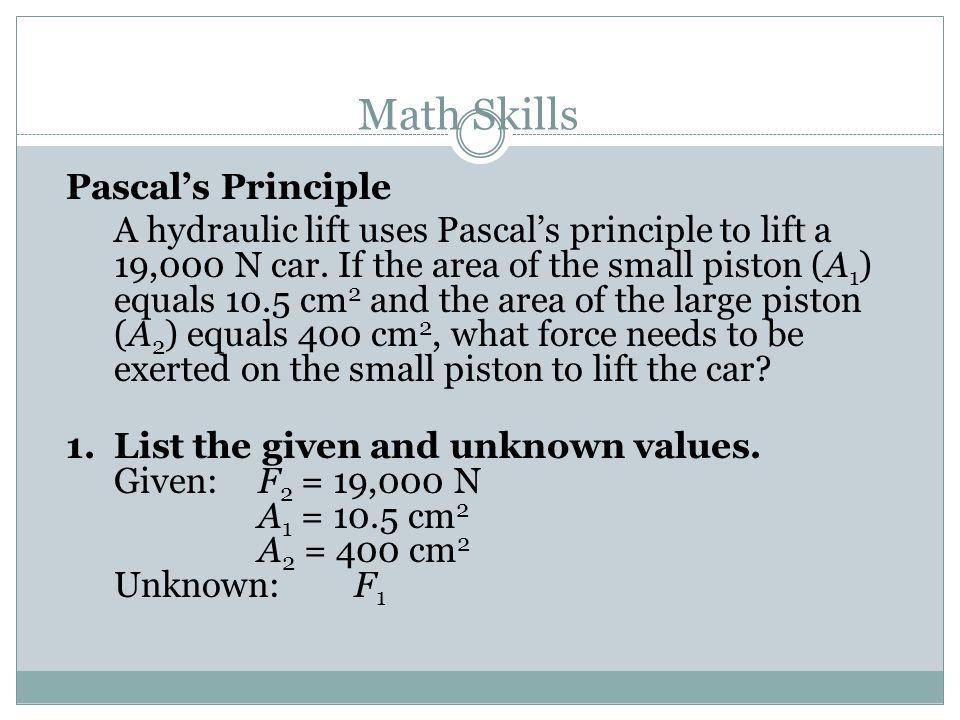 Math Skills Pascal's Principle