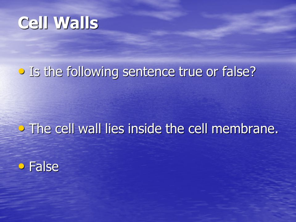 Cell Walls Is the following sentence true or false