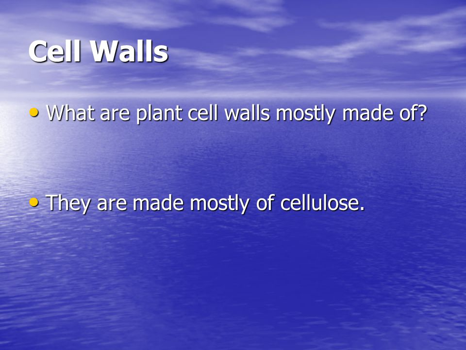 Cell Walls What are plant cell walls mostly made of