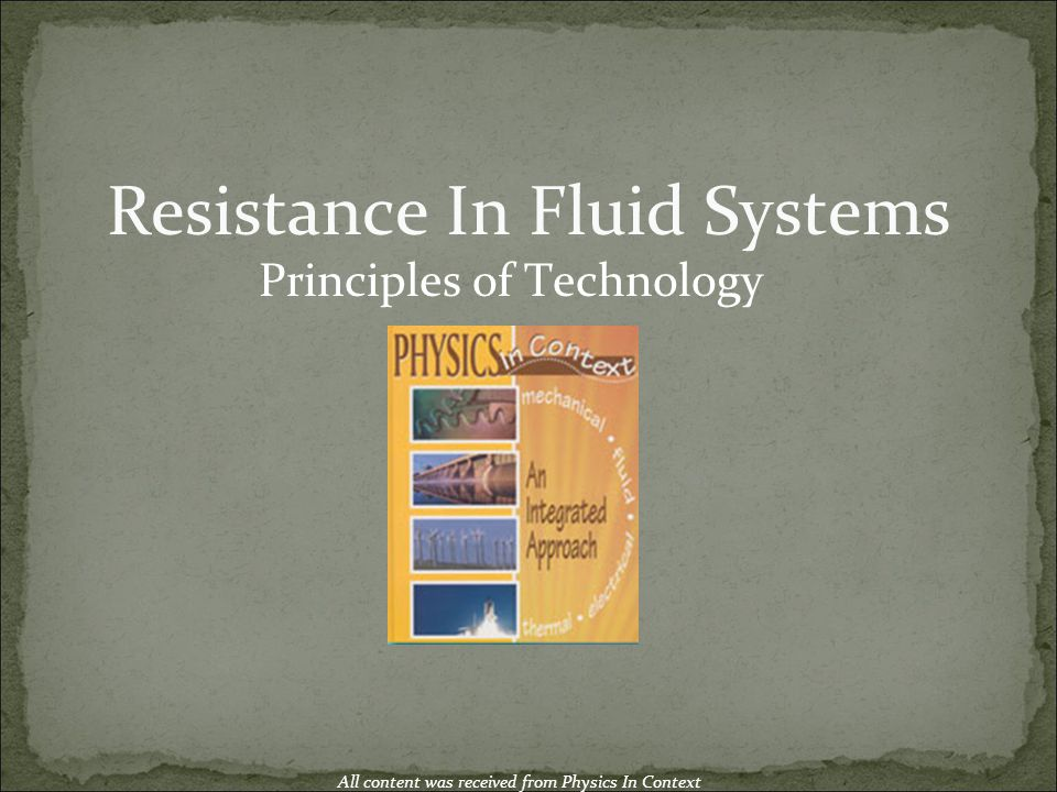 Resistance In Fluid Systems
