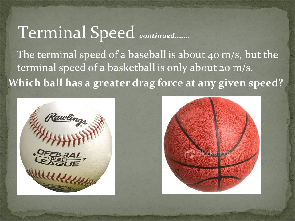 Terminal Speed continued……..