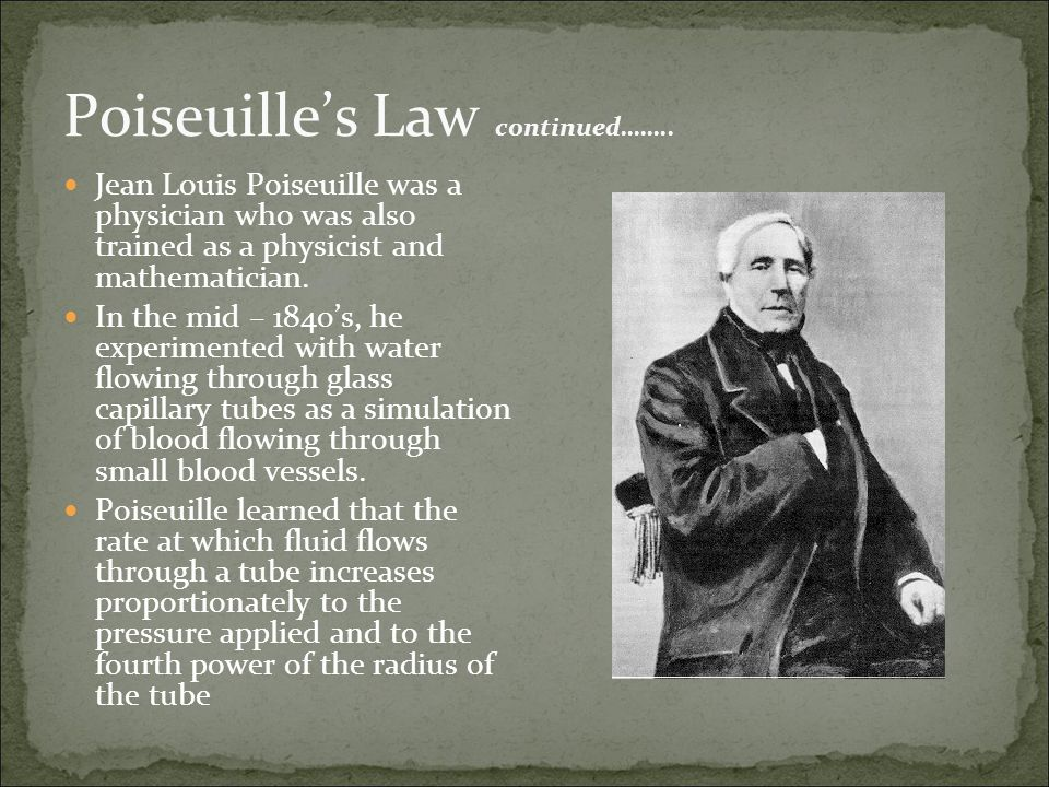 Poiseuille's Law continued……..