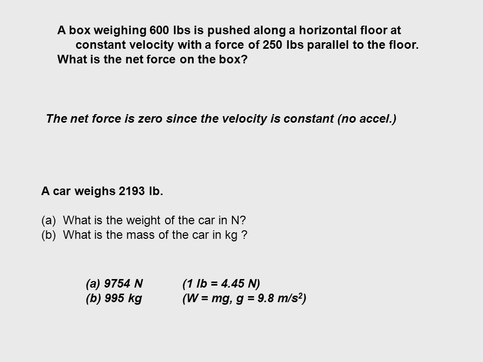 A box weighing 600 lbs is pushed along a horizontal floor at constant velocity with a force of 250 lbs parallel to the floor.
