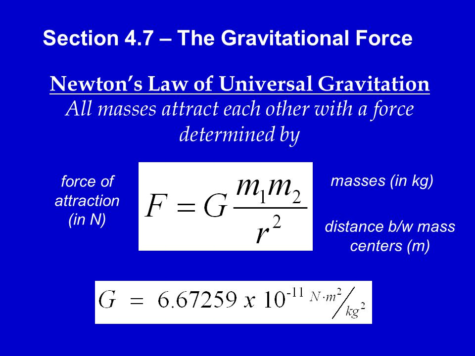 Section 4.7 – The Gravitational Force