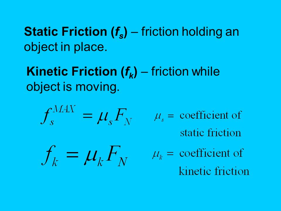 Static Friction (fs) – friction holding an object in place.