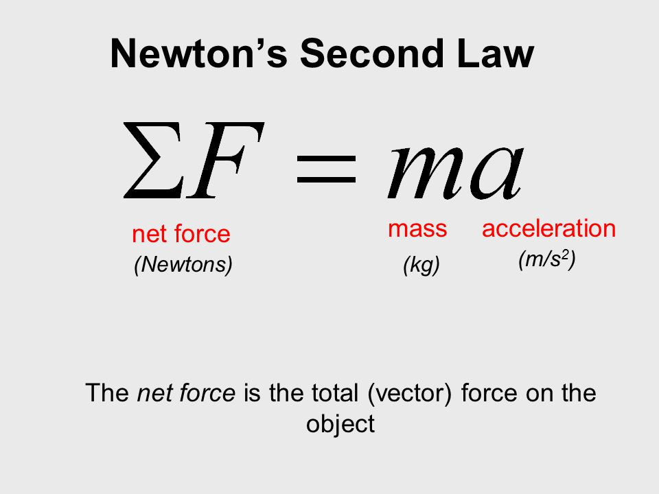 The net force is the total (vector) force on the object