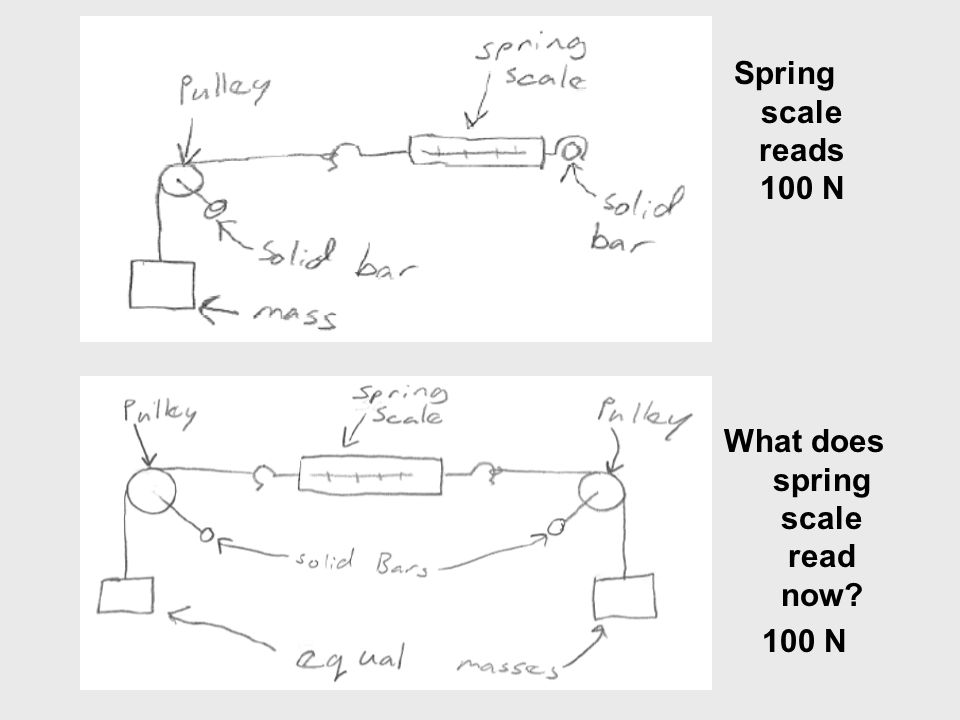 What does spring scale read now