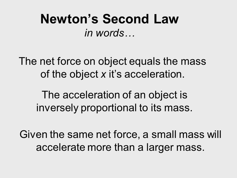 Newton's Second Law in words…